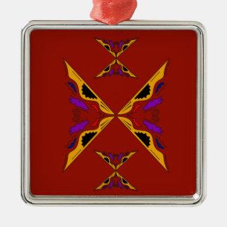 LuxusMandalagoldbraun Quadratisches Silberfarbenes Ornament