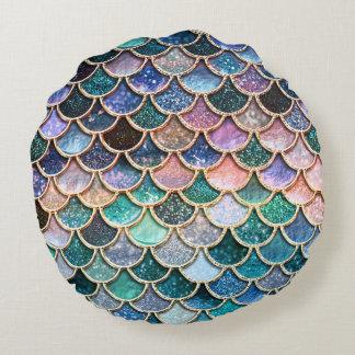 LuxusmehrfarbenGlitter-Meerjungfrau-Skalen Rundes Kissen