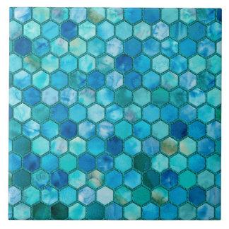 Luxusmetallfolien-Glitter-Aquablaubienenwabe Fliese