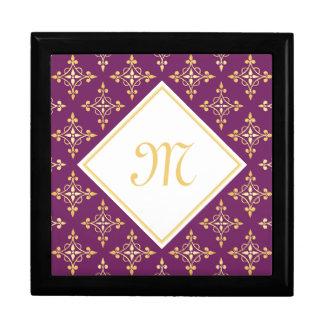 Luxusmonogramm lila und Gold Quatre mit Blumen Geschenkbox