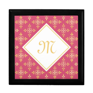 Luxusmonogramm-Rosa und Gold Quatre mit Blumen Erinnerungskiste