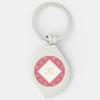 Luxusmonogramm-Rosa und Gold Quatre mit Blumen Schlüsselanhänger