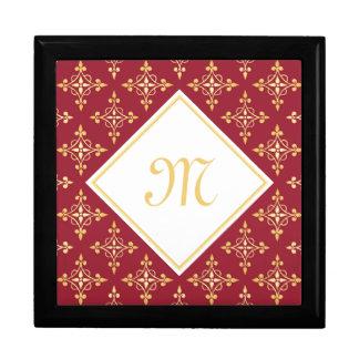 Luxusmonogramm-Rot und Gold Quatre mit Blumen Geschenkbox