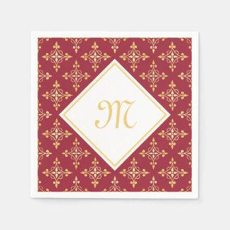 Luxusmonogramm-Rot und Gold Quatre mit Blumen Papierserviette