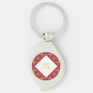 Luxusmonogramm-Rot und Gold Quatre mit Blumen Schlüsselanhänger