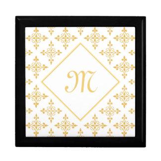 Luxusmonogramm-Weiß und Gold Quatre mit Blumen Geschenkbox