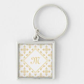 Luxusmonogramm-Weiß und Gold Quatre mit Blumen Schlüsselanhänger