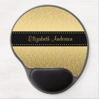 Luxusschwarz-und GoldJaguar-Druck mit Namen Gel Mouse Pad