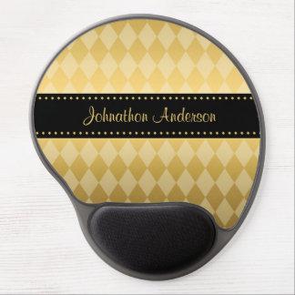 Luxusschwarz-und Goldmännliche Raute Gel Mouse Pad