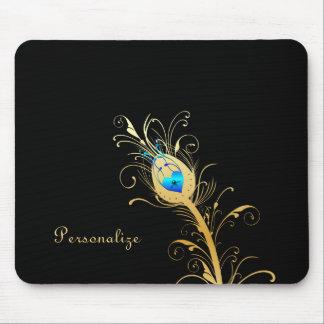 Luxusschwarz-und Goldpfau-Feder Mousepads