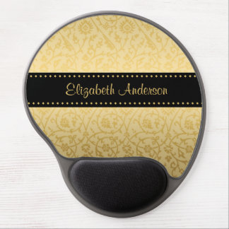 Luxusschwarz-und GoldVintager Blumendamast Gel Mouse Matten