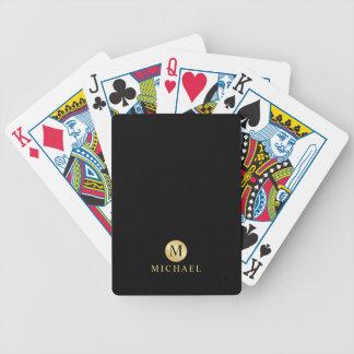 Luxusschwarzes und Goldpersonalisiertes Monogramm Bicycle Spielkarten