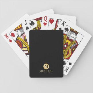 Luxusschwarzes und Goldpersonalisiertes Monogramm Spielkarten