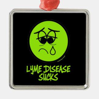 Lyme ist zum Kotzen Quadratisches Silberfarbenes Ornament