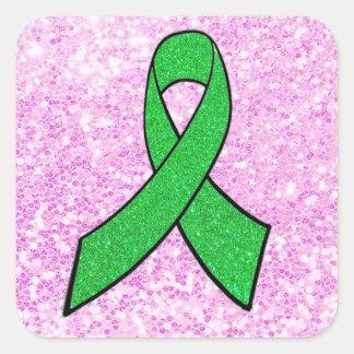 Lyme Krankheits-Bewusstseins-Band-Imitat-rosa Quadrat-Aufkleber