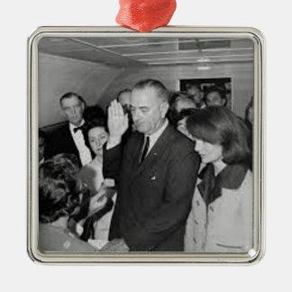 Lyndon B Johnson Quadratisches Silberfarbenes Ornament