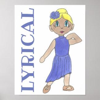 LYRICAL lila Tanz-Kostüm-moderner Tänzer-Lehrer Poster