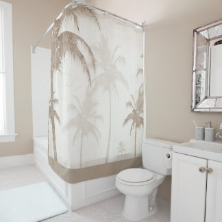 Lyrical Vintager Sepia-tropische Palmen-Vögel Duschvorhang