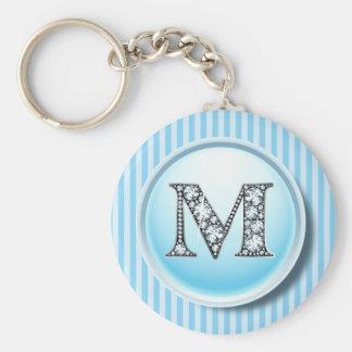"""""""M-"""" Diamant Bling auf Vintagem blauem Schlüsselanhänger"""