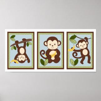 M ist für Affe-Dschungel-Kinderzimmer-Wand-Kunst-D Posterdruck