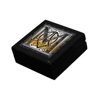M-Monogramm-keltischer schwarzer dekorativer Schmuckschachtel