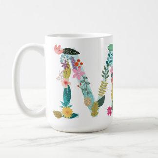 M-Monogramm-Tasse, Blumenm-Initiale, botanisch Kaffeetasse