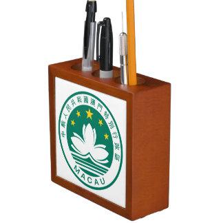 Macao deckte Wappen-Schreibtisch-Organisator mit Stifthalter
