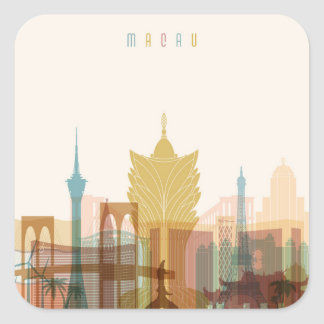Macao, StadtSkyline der China-| Quadratischer Aufkleber