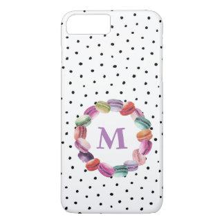 Macarons Wreath-Monogramm-Schwarz-weiße Punkte iPhone 8 Plus/7 Plus Hülle
