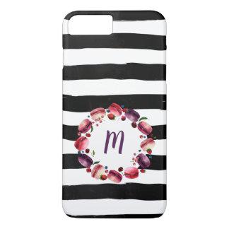 Macarons Wreath-Monogramm-Schwarz-weiße Streifen iPhone 8 Plus/7 Plus Hülle