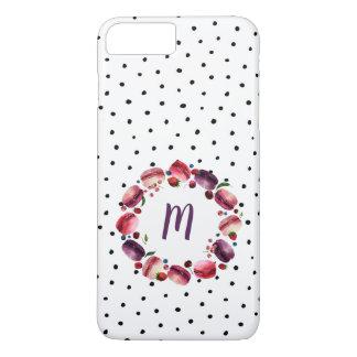 Macarons Wreath-Monogramm-Schwarz-weißer Punkt iPhone 8 Plus/7 Plus Hülle