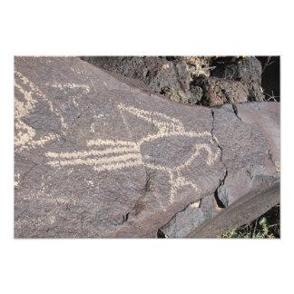 Macaw-Petroglyphe eines exotischen Vogels Fotodruck