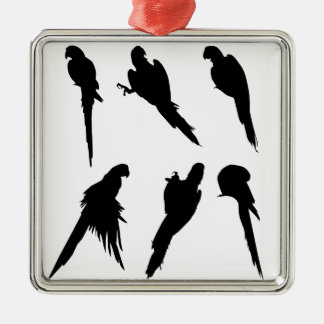 Macaw-Silhouette-Set Silbernes Ornament