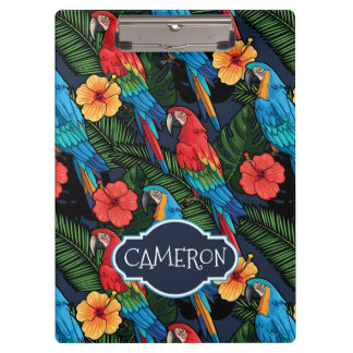 Macaw-und Hibiskus-Muster | addieren Ihren Namen Klemmbrett
