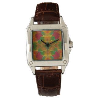 Macawpapageien-Feder-Kaleidoskop Armbanduhr