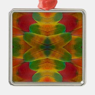 Macawpapageien-Feder-Kaleidoskop Silbernes Ornament