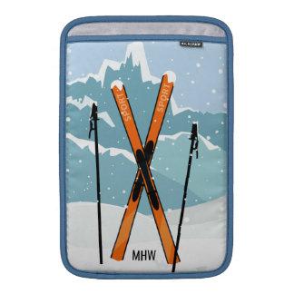 Macbook Monogramm des Winter-Skifahrens Sleeve Fürs MacBook Air