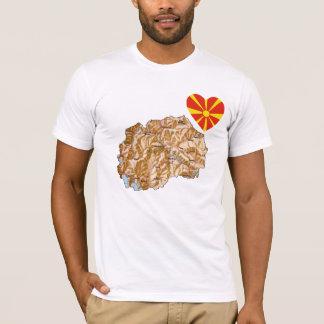 Macedonia-Flaggen-Herz und Karten-T - Shirt