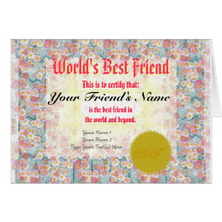 Machen Sie der beste Freund-Zertifikat einer Welt Karte