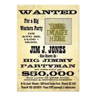 Machen Sie eine Western-Party gewollte 12,7 X 17,8 Cm Einladungskarte