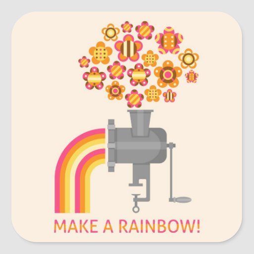 Machen Sie einen Regenbogen! Quadrataufkleber