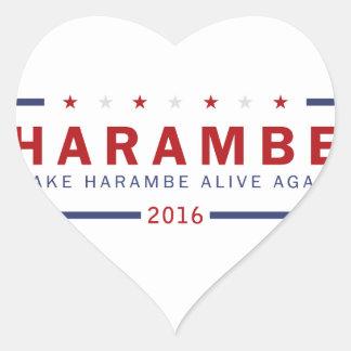 Machen Sie Harambe lebendig wieder Herz-Aufkleber