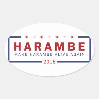 Machen Sie Harambe lebendig wieder Ovaler Aufkleber