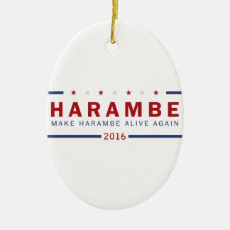 Machen Sie Harambe lebendig wieder Ovales Keramik Ornament