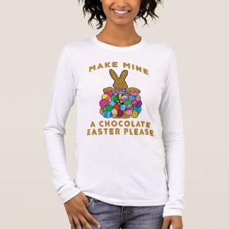 Machen Sie meine ein Schokoladen-Ostern-Damen Langärmeliges T-Shirt