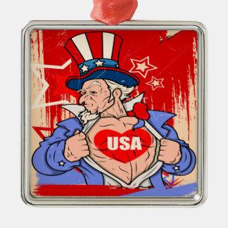 Mächtige Uncle Sam Liebe USA-Tätowierung Quadratisches Silberfarbenes Ornament