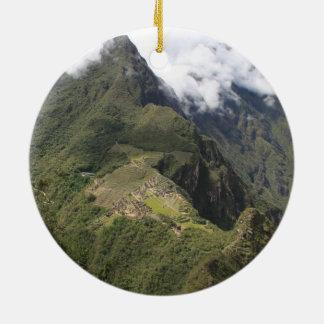 Machu Picchu Verzierung Rundes Keramik Ornament