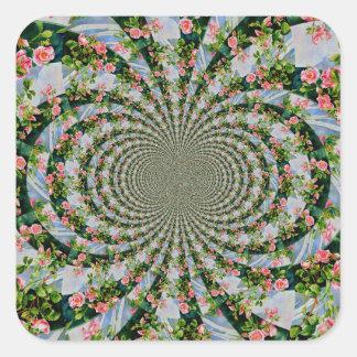 Mackinac Rose Mandala Quadratischer Aufkleber