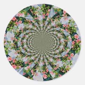 Mackinac Rose Mandala Runder Aufkleber