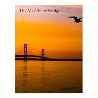 Mackinaw Brücke am Sonnenuntergang Postkarte
